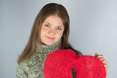 Girl with valentines heart Stock Images
