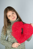 Girl with valentines heart Royalty Free Stock Photo