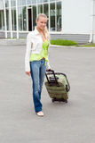 Girl with valise. stock photo