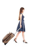 Girl with valise Stock Photo