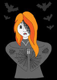 Girl vampire in clothes with a spider web and bat on the black Royalty Free Stock Photography