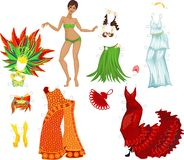 Girl and various costumes Royalty Free Stock Photos
