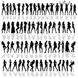Girl in various poses black vector silhouette Royalty Free Stock Image