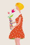 Girl with the vase of flowers retro Stock Images