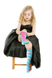 Girl vearing socks Royalty Free Stock Photography