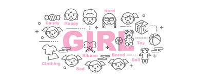 Girl vector banner Royalty Free Stock Photography