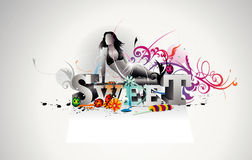 Girl vector composition Stock Photography