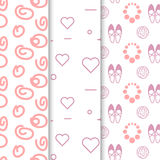Girl vector seamless pattern set. Light pink white hearts and circles. Girl vector seamless pattern set. Light pink and white hearts and circles. Girl shoes Royalty Free Stock Photo