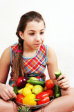 Girl with vegetable and fruit Stock Images