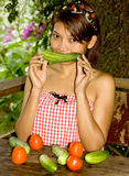 Girl with vegetables Royalty Free Stock Photography