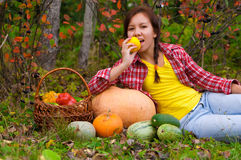 Girl with vegetables Stock Photo