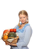 Girl with vegetables Royalty Free Stock Photos