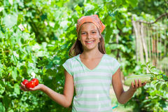 Girl with vegetables Stock Photos