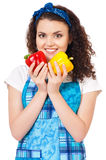 Girl with vegetables Royalty Free Stock Image