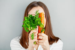 Girl and vegetables. healthy lifestyle Stock Photography