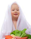 Girl with vegetables and shrimp. On a white background Stock Photos