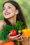 Girl with vegetarian set Stock Photos