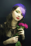 Girl in  veil with  bouquet of roses Royalty Free Stock Photography