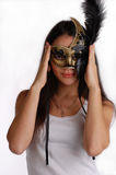 Girl with venetian mask Royalty Free Stock Images
