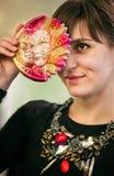 Girl with venetian mask Stock Photography