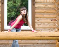 Girl  on a veranda Royalty Free Stock Images