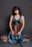 Girl in versicolor dress Royalty Free Stock Photo