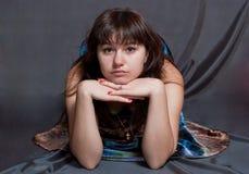 Girl in versicolor dress Royalty Free Stock Image