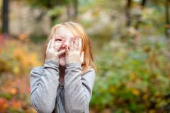 The girl is very happy. Expresses delight Royalty Free Stock Image