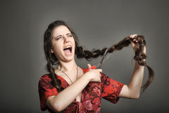 Girl with very long hair Stock Image