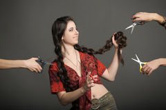 Girl with very long hair Royalty Free Stock Image