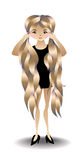 Girl with very long hair. Little Black Dress. Vector illustration Royalty Free Stock Image