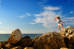 Girl in a vest after shipwreck Royalty Free Stock Images