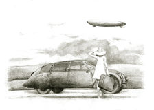 Girl with a veteran. Hand drawing girls, cars and airships Royalty Free Stock Photography