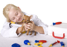 Girl Veterinarian with a Puppy Dog. Young Blond Girl pretending to be a veterinarian with a small puppy as her patient.  There is an assortment of pretend Royalty Free Stock Images