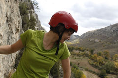 Girl in a via ferrata, high. In Spain Stock Image