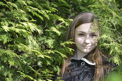 Girl Victoria in the forest Stock Images