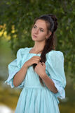 Girl in a Victorian dress. Mysterious girl in a Victorian dress Stock Images