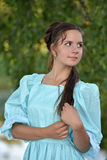 Girl in a Victorian dress. Mysterious girl in a Victorian dress royalty free stock photo