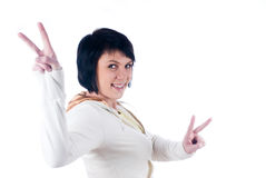Girl with victory sign Stock Photography