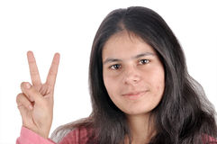 Girl victory sign Royalty Free Stock Photos