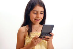 Girl and video games Royalty Free Stock Photography
