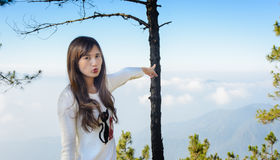 Girl view point to the mountains Royalty Free Stock Photo