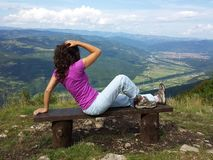 Girl at the viewpoint Royalty Free Stock Photography