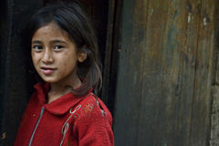 Girl in the village of Himalayas Royalty Free Stock Image