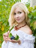 Girl in vineyard Royalty Free Stock Photography