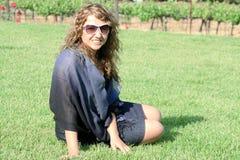 Girl at vineyard Royalty Free Stock Image