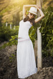 Girl in the vineyard Royalty Free Stock Photography