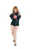 Girl with vinil disc Stock Photos