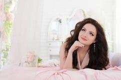 Girl in vintage beige dress Royalty Free Stock Images