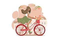 Girl on vintage bicycle with flowers. Riding around city. Vector illustration Stock Image